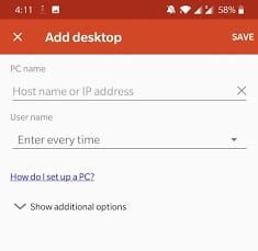 add your server to RDP app