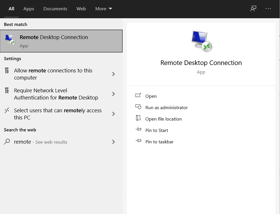 remote desktop connection on windows pc