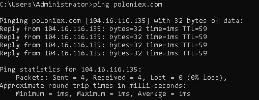 Poloniex ping